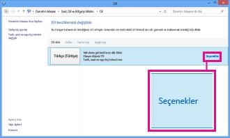 Windows 8'de Denetim Masası'nda giriş yöntemi ekleme.