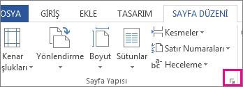 Sayfa Yapısı iletişim kutusunu açan düğme