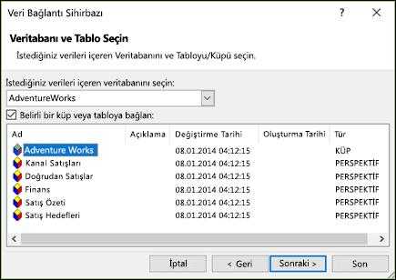 Veri Bağlantı Sihirbazı'nı > veritabanı ve Tablo Seç