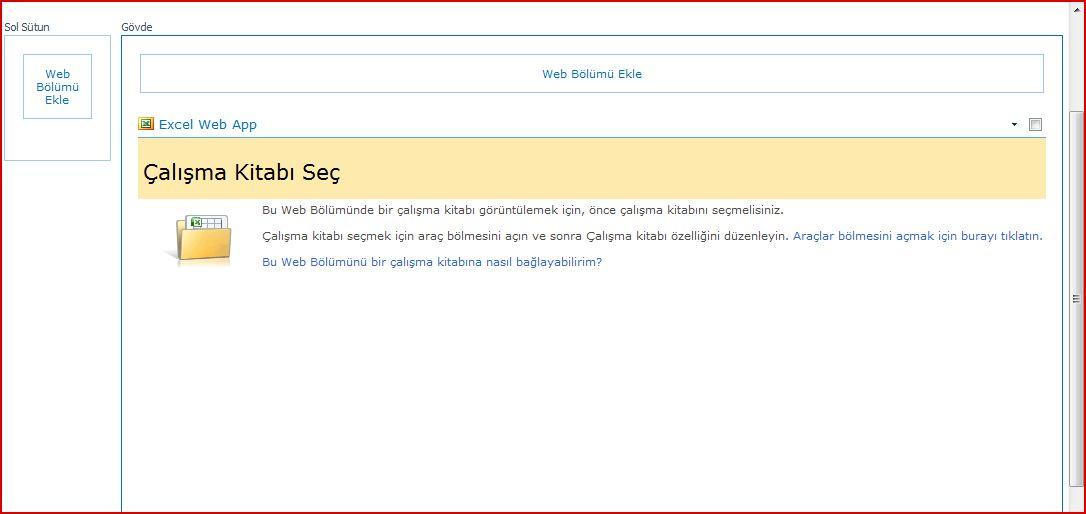 Excel Web Access Web Bölümü, Çalışma Kitabı Seç bölmesini görüntülüyor
