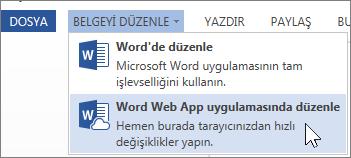 Word Web App'te Düzenle menü seçeneği