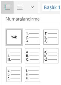 Numaralandırma stilleri