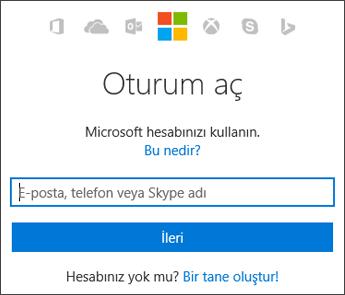 Hesabım bölümünde, Office ile kullandığınız Microsoft hesabını girdiğiniz oturum açma sayfasının ekran görüntüsü