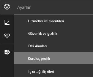 Kuruluş profili seçili Ayarlar menüsünü gösteren ekran görüntüsü
