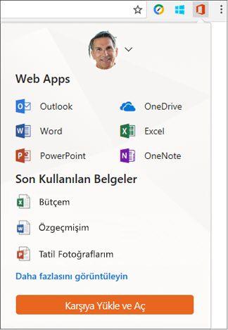 Office Online uzantısını Chrome uzantıları çubuğunda Office Online panelini açmak için tıklatın.