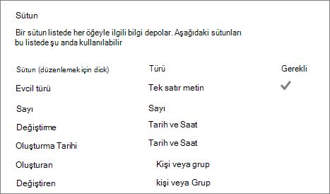 Liste sütunu bölümünde liste ayarları