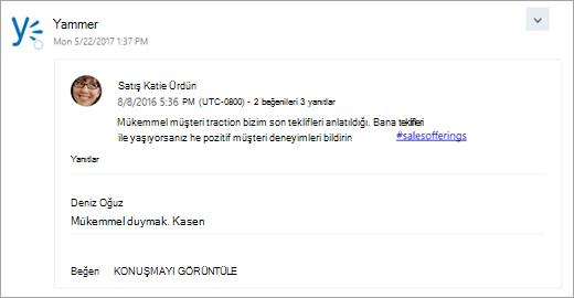 Grubun gelen kutunuza teslim bağlı hizmetinden kartının ekran görüntüsü