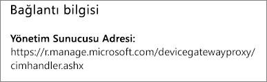 Yönetilen sayfasında cihaz yöneticisi URL'si bağlantı bilgileri gösterilir.