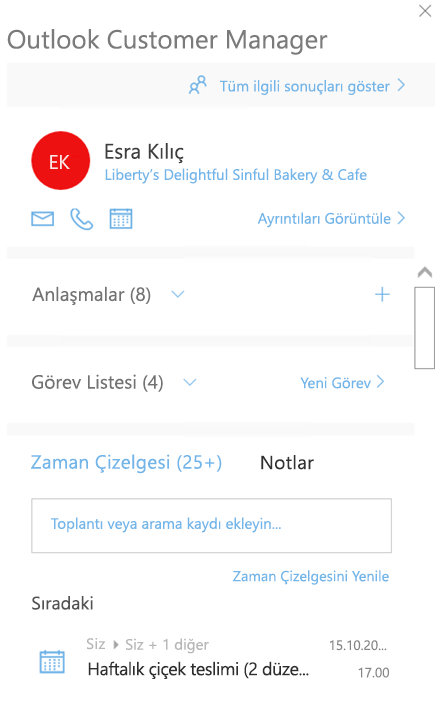 Outlook Customer Manager hoş geldiniz ekranı