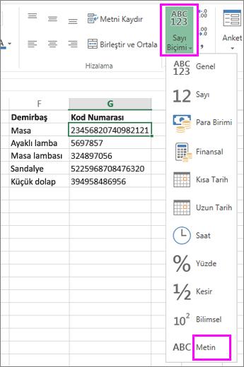 sayılara metin biçimi uygulama
