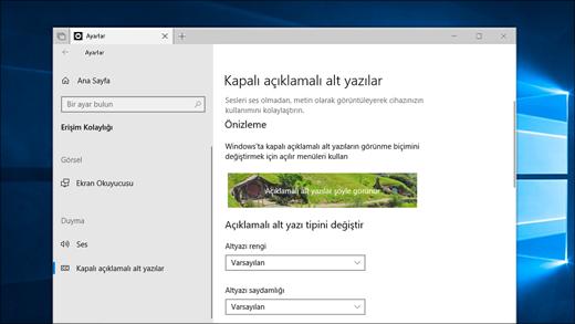 Ayarlar uygulamasındaki kapalı açıklamalı alt yazı ayarları.