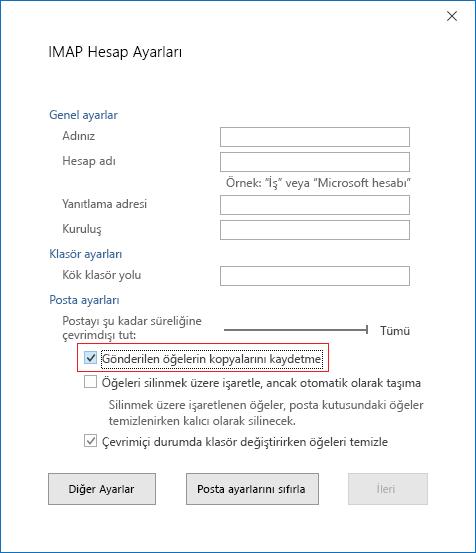 IMAP Hesabı Ayarları, Gönderilmiş Öğelerin kopyalarını kaydetmeyin