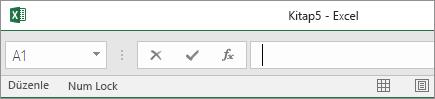 Durum Çubuğu, Formül Çubuğu'na ulaşacak kadar yukarı sürüklendiğinde çalışma sayfası sekmeleri kaybolur