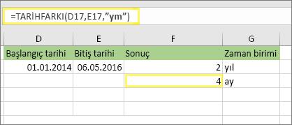 """=TARİHFARKI(D17,E17,""""ya"""") şu sonucu döndürür: 4"""