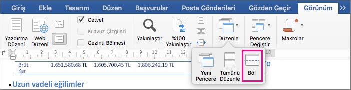 Word penceresini aynı belgenin iki görünümüne bölmek için Böl'e tıklayın.