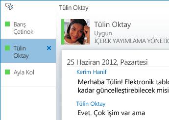 Sekmeli konuşmayı gösteren ekran görüntüsü