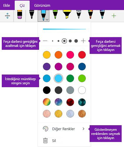 Mürekkep vuruşu genişlik ve renk seçenekleri Windows 10 için OneNote