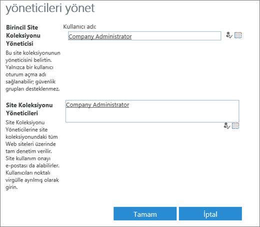 Site Yöneticisi iletişim kutusu.