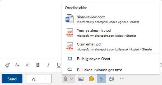 Önerilen ekleri gösteren dosyaları ekleme