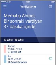 StaffHub mobil uygulamasında günün çalışma zamanlaması örneği