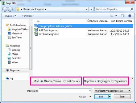 Project Web App dosyalarını gösteren Aç iletişim kutusu