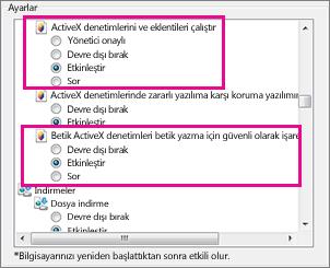 ActiveX denetimlerinin Internet Explorer'da yüklenmesine ve çalıştırılmasına izin verme