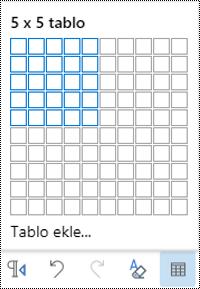 Web üzerinde Outlook 'ta tablo Kılavuzu.
