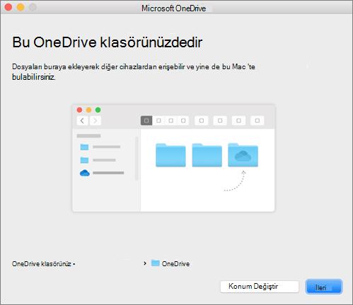Mac'te, OneDrive'a Hoş geldiniz sihirbazındaki Bu Sizin OneDrive Klasörünüz sayfasının ekran görüntüsü