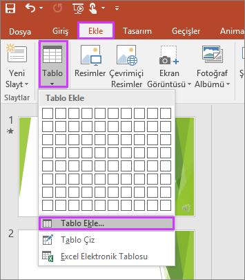 PowerPoint şeridindeki Ekle sekmesinde Tablo seçeneğini gösterir