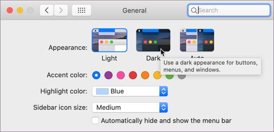 macOS koyu modu için ayar