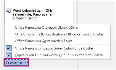Word 2013'teki Pano seçenekleri