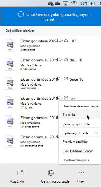 OneDrive kişisel tercihlerini ayarlamanın ekran görüntüsü