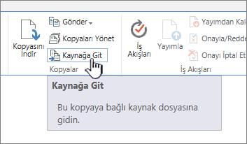 Şeritteki dosyalar sekmesinde kaynağa Git