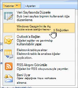 Eylemler'in altında menü seçeneği Windows Explorer ile Aç