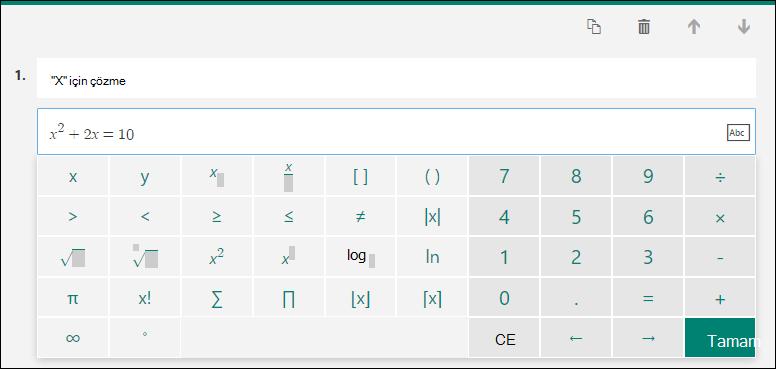 Matematik formülleri için matematik klavye