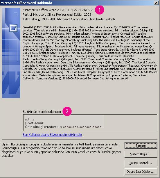 Microsoft Office Word 2003 Hakkında penceresi