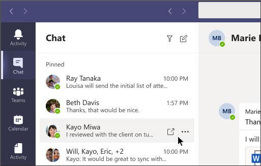 Açılan sohbet düğmesi ekran görüntüsü