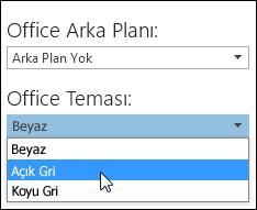 Farklı bir Office Teması seçin