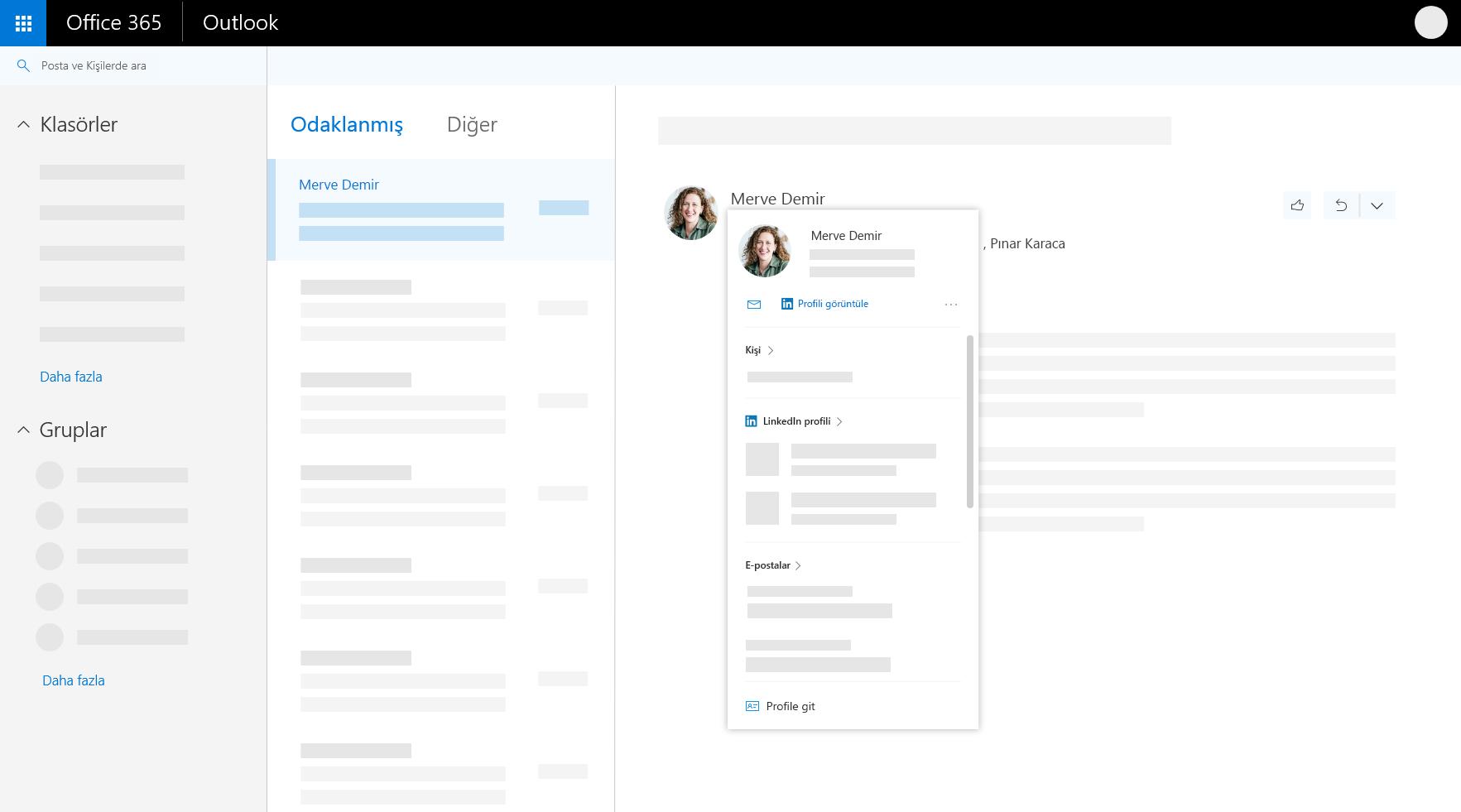 Web üzerinde Outlook'ta profil kartı