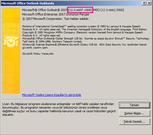 """""""Microsoft Office Outlook Hakkında"""" iletişim kutusunda Outlook 2007 sürüm numarasının yerini gösteren ekran görüntüsü."""