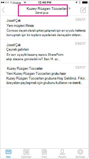 Outlook mobil konuşma görünümünde vurgulanmış üstbilgisi