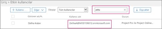 """Ekran görüntüsü, Etkin kullanıcılar sayfasının bir bölümünü gösterir; Tüm kullanıcılar olarak ayarlanmış olan Filtreler seçeneğinin bitişiğindeki arama kutusuna """"allie"""" arama terimi yazılmıştır. Aşağıda, tam görünen ad ve kullanıcı adı gösterilir."""