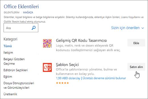 Sayfasının ekran görüntüsü nerede seçebilir veya bir eklenti için sözcük arama Office eklentileri.
