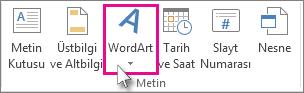 WordArt eklemek için tıklatın