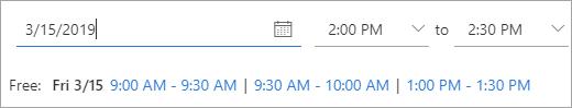 Toplantı davetli bir toplantının kullanılabileceği zamanlar ekran görüntüsü