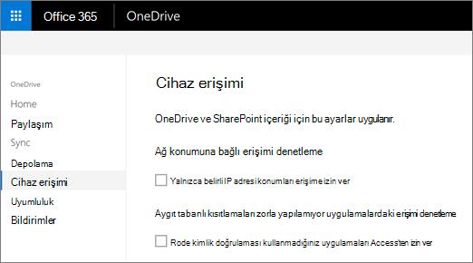 OneDrive yönetim merkezinin cihaz erişim sekmesi