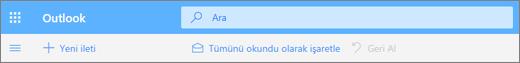 Outlook.com'da Arama sorgu kutusunu gösteren bir ekran görüntüsü.