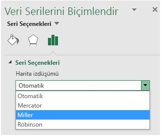 Excel harita grafiği projeksiyonu seçenekleri