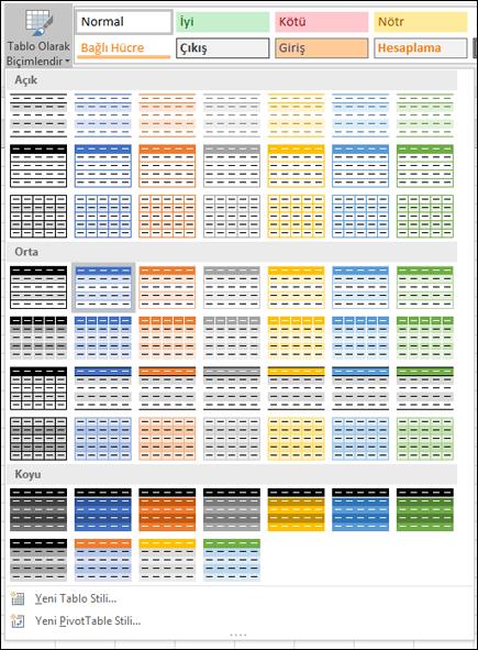 Excel Tablo Stili Galerisi