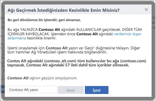 Yammer ağını geçirmek istediğinizi Onaylayın iletişim kutusunun ekran görüntüsü